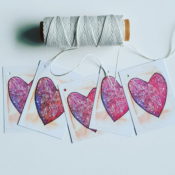 Wedding stationery, love heart gift tags