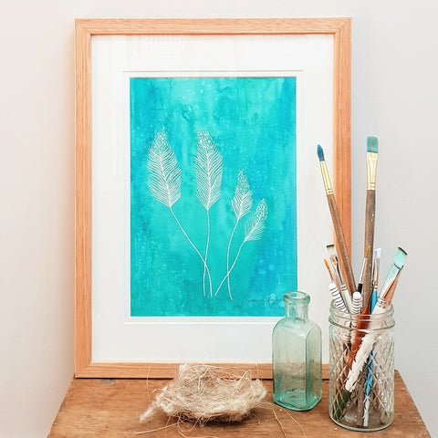 'Feathers and Teal' modern bohemian style art print