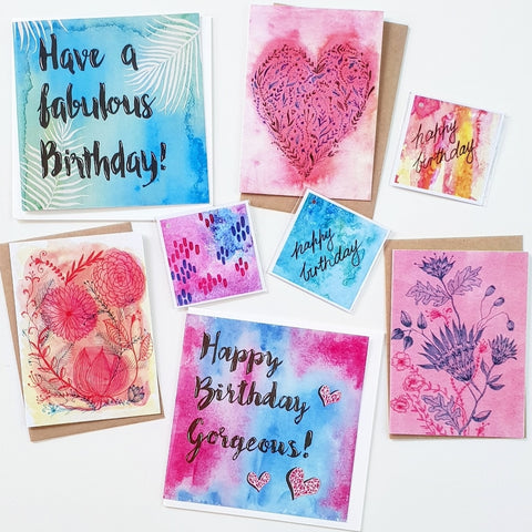 Minnie&Lou Birthday cards, gift tags, greeting card set