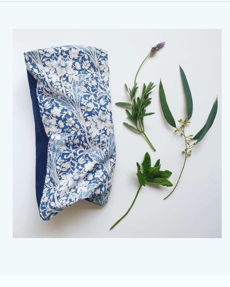 Eco friendly wheat bag made with upcycled fabric - Blue Floral Print