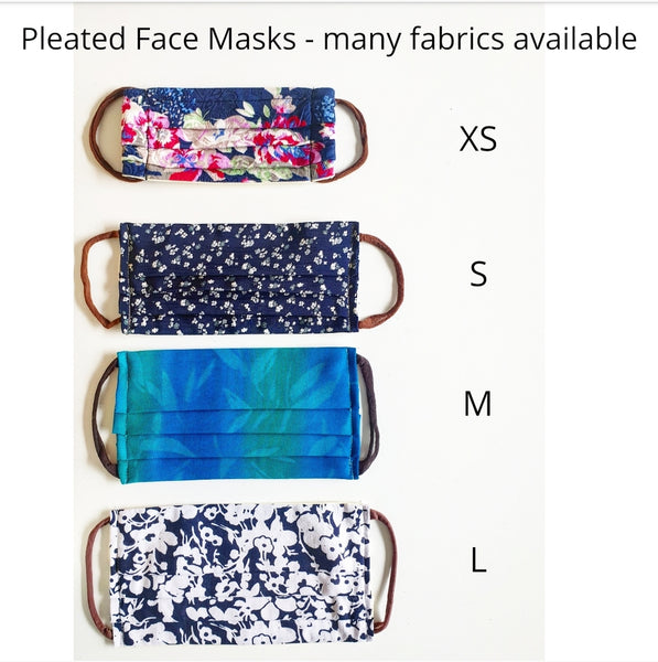 Eco Friendly triple layer fabric face Masks, Pleated type. Handmade in Melbourne Australia from upcycled materials.