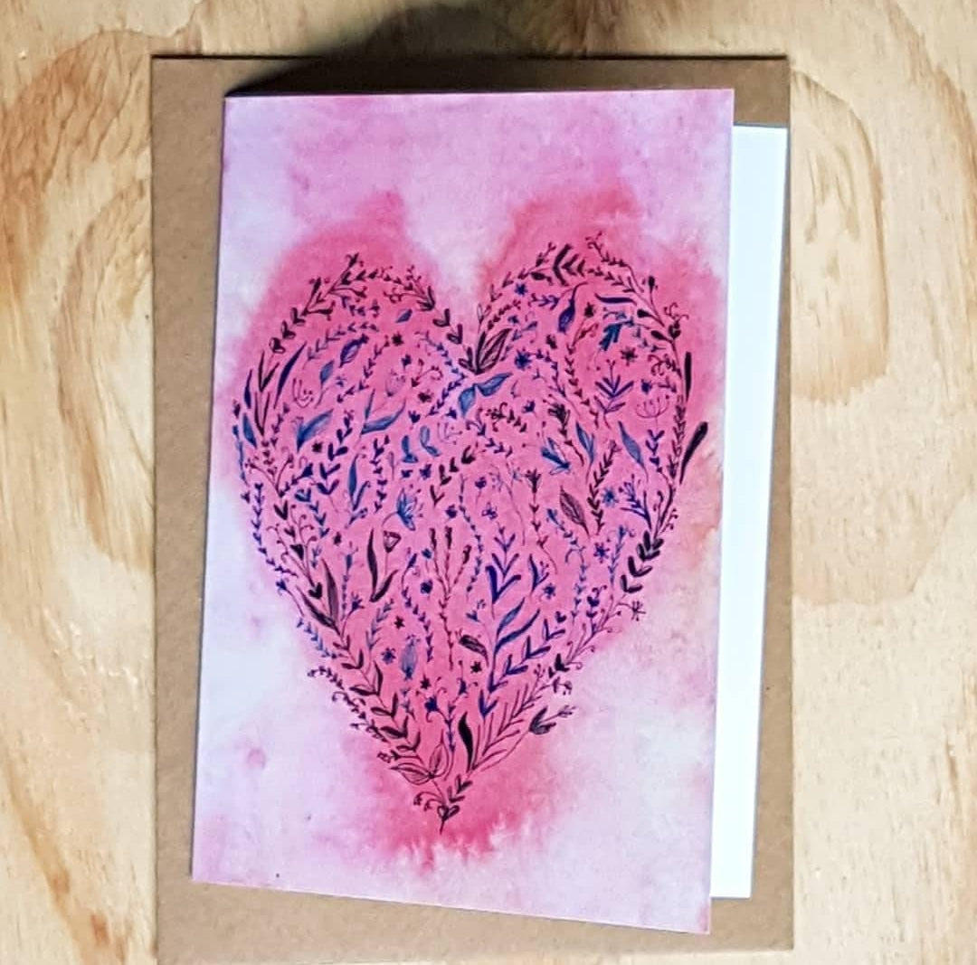 Floral Heart printed card by Minnie&Lou, Melbourne Australia