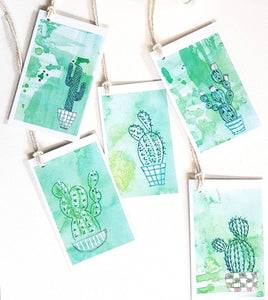 Cactus gift tags by Minnie&Lou, made in Melbourne Australia.