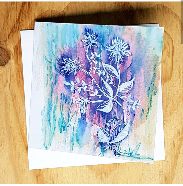 Blue Wash Floral Greeting card by Jacinta Payne, Melbourne Australia