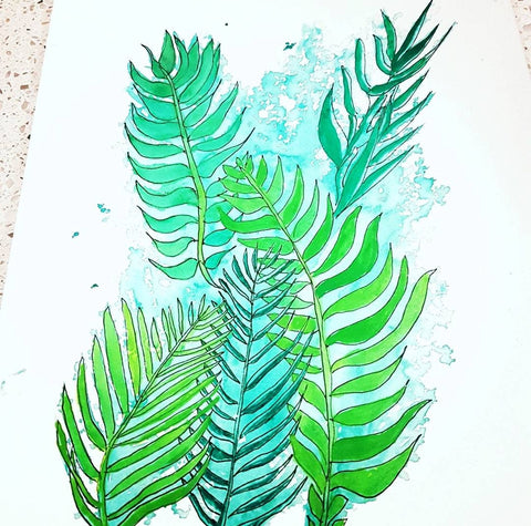 Modern botanical Watercolour Art Print by Jacinta Payne for Minnie&Lou, Melbourne Australia