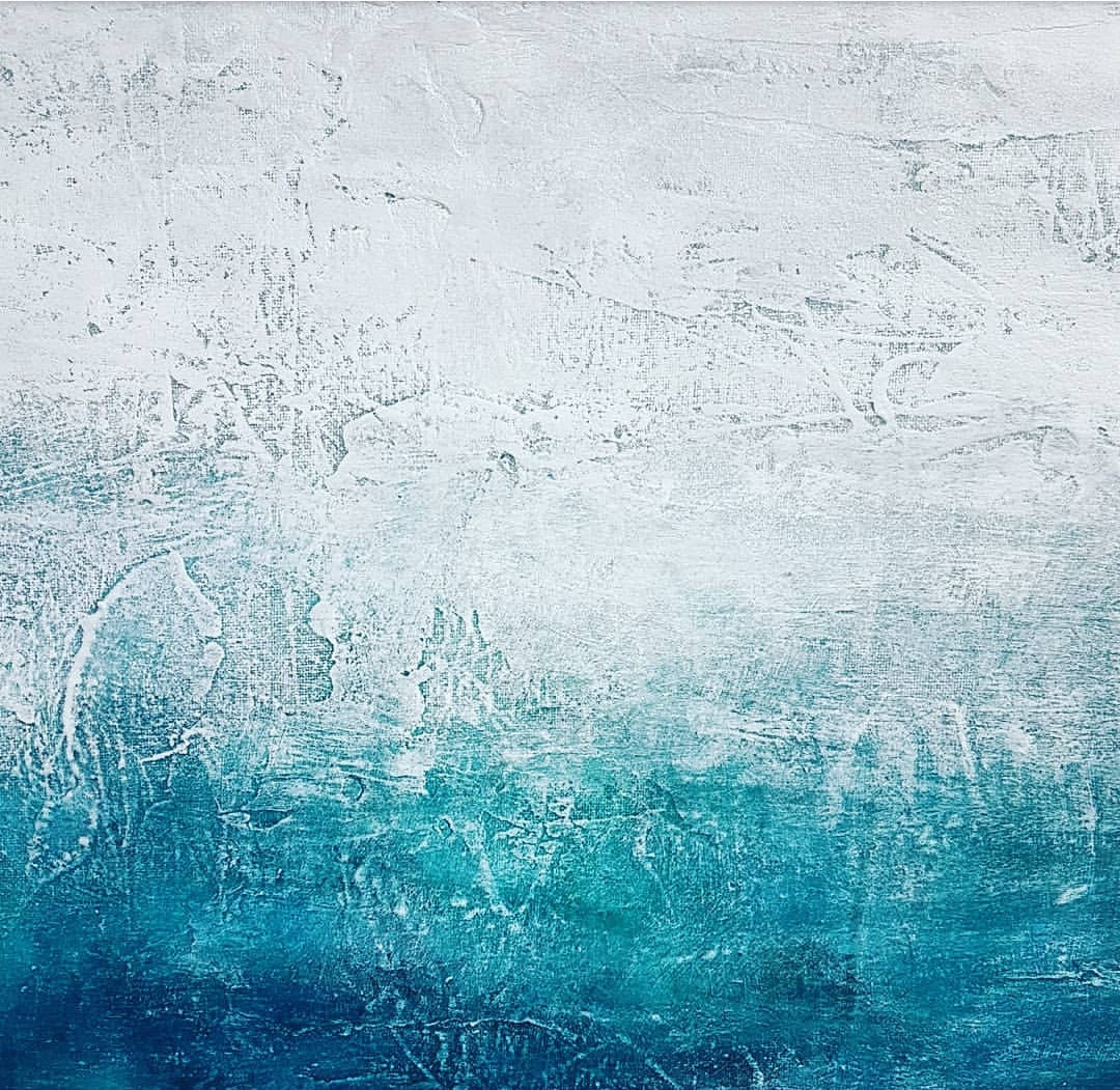 Ocean Song, eco art by Jacinta Payne. Acrylic on reclaimed canvas. Melbourne Australia