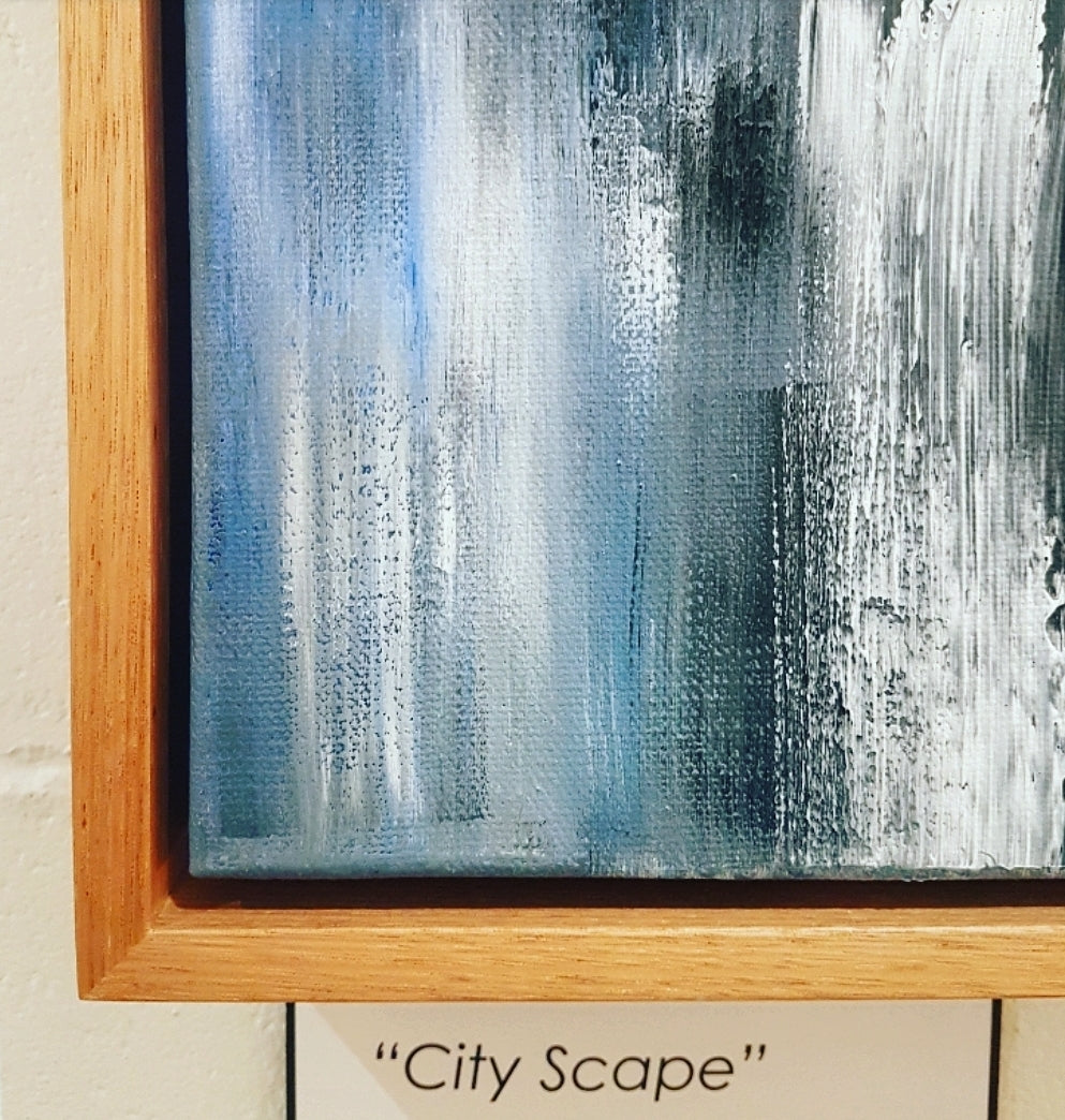 'City Scape' Custom Framed grey & white abstract art work