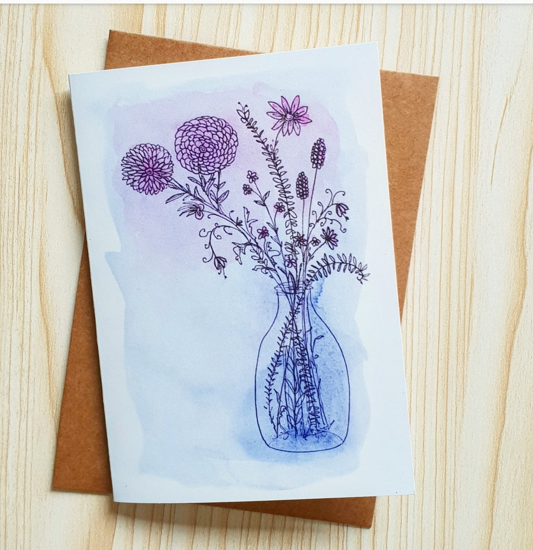 'From My Garden' Modern Floral Greeting Card by Minnie&Lou