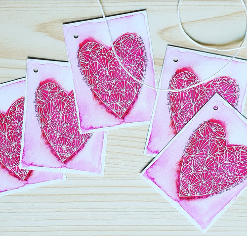 Love heart gift tags, Minnie&Lou,  made in Melbourne Australia