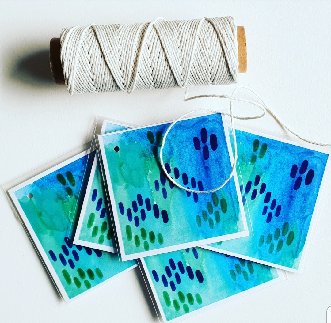 'Teal Blue' Colour Pop Gift Tags (Set of 5)