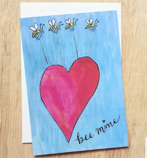 Valentines Day card Bee Mine by Minnie&Lou. Made in Melbourne, eco stationery