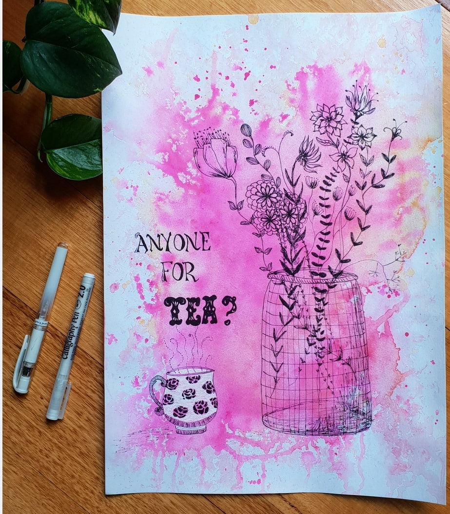 'Tea and Flowers' Original art work on A3 watercolour paper