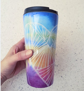 Stainless steel Travel mug 'Rainbow Heart'