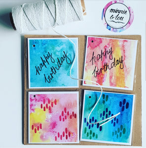 Colourful Birthday gift tags, set of 4