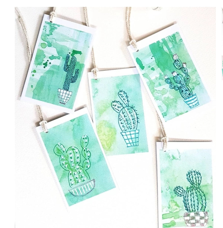 'For the love of Cacti' set of 7 Gift tags