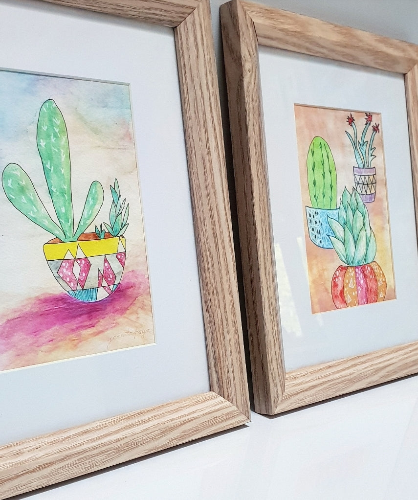 'Cute Cactus 1&2' Archival Art Print Set