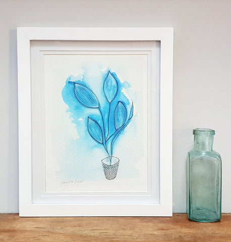 Blue Botanical modern watercolour art print