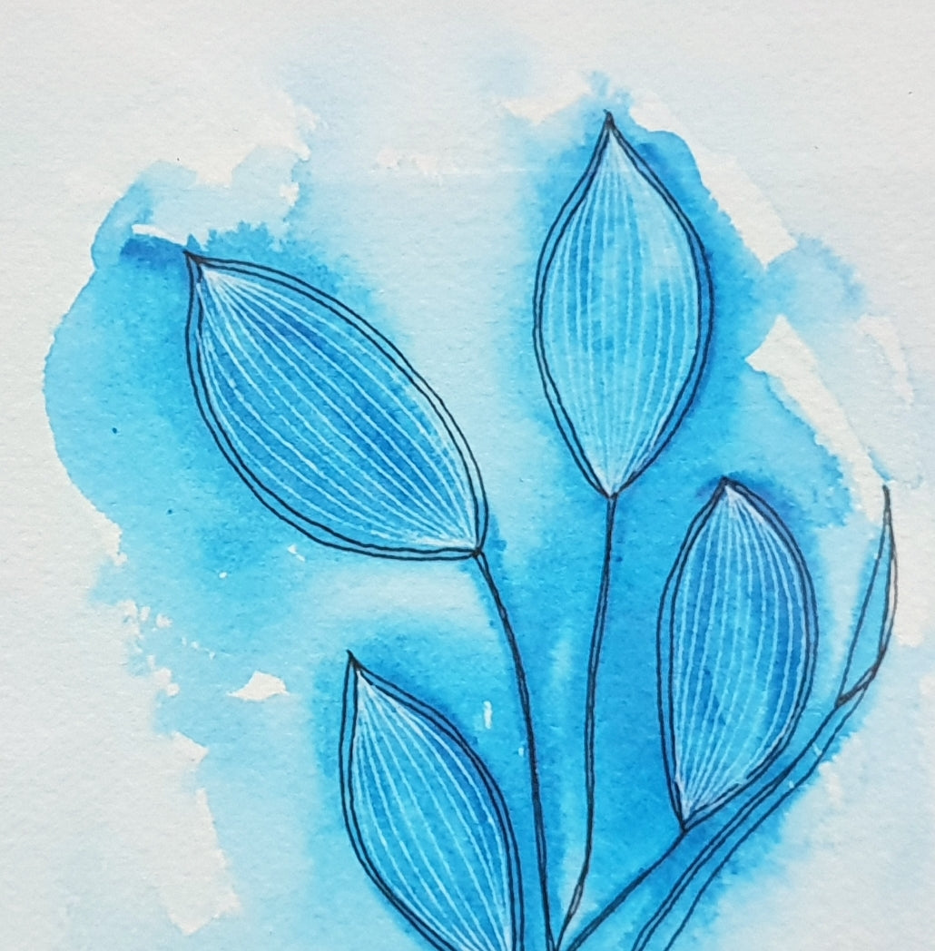 Modern blue watercolour print