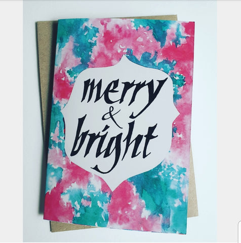 Merry & Bright Christmas card, eco Christmas gift stationery, Made in Melbourne by Minnie and Lou