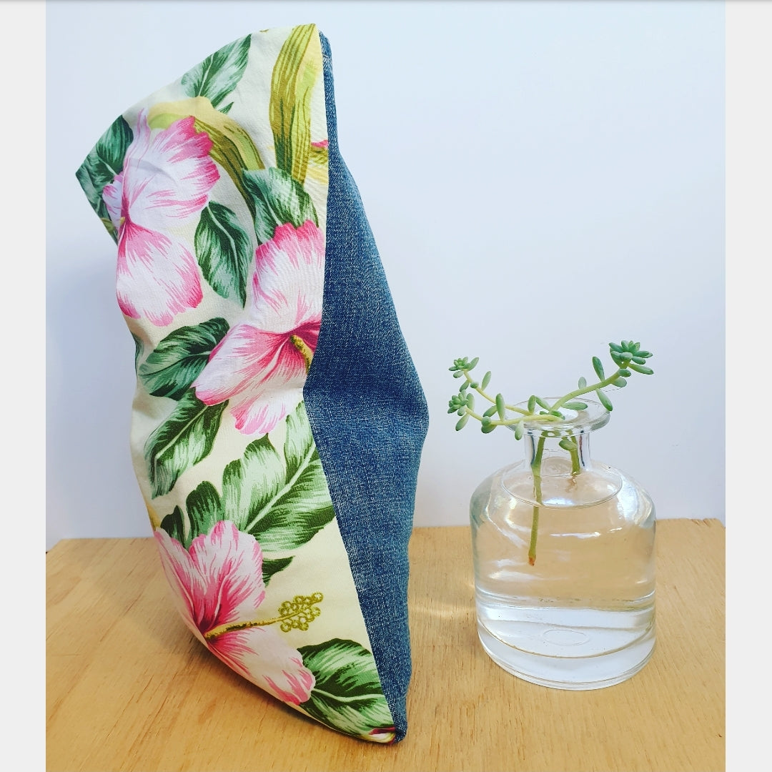 Hibiscus print wheat bag, eco friendly recycled fabric, Australian made