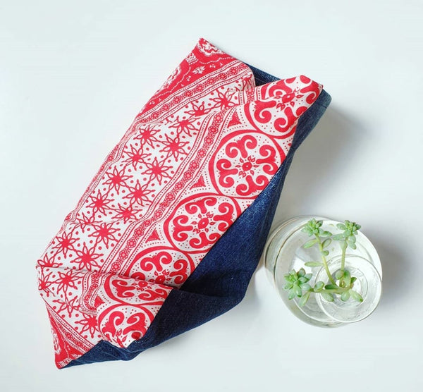 Eco friendly Christmas wheat pack made from upcycled Colette Dinnigan sundress fabric