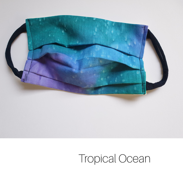 Tropical Ocean face mask made from upcycled sarong from Fiji. Made in Melbourne.