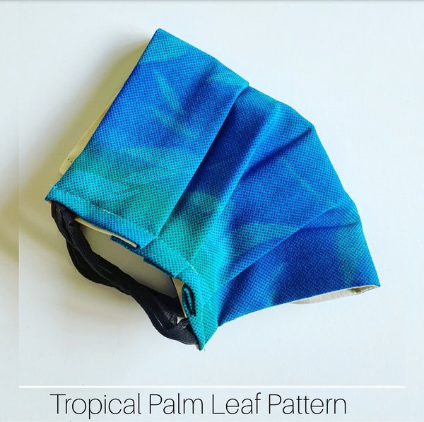 Tropical Palm Leaf pattern face mask handmade in Melbourne Australia