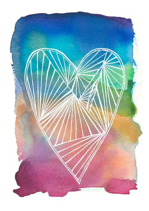 Rainbow Heart Archival Wall Art Print #loveislove