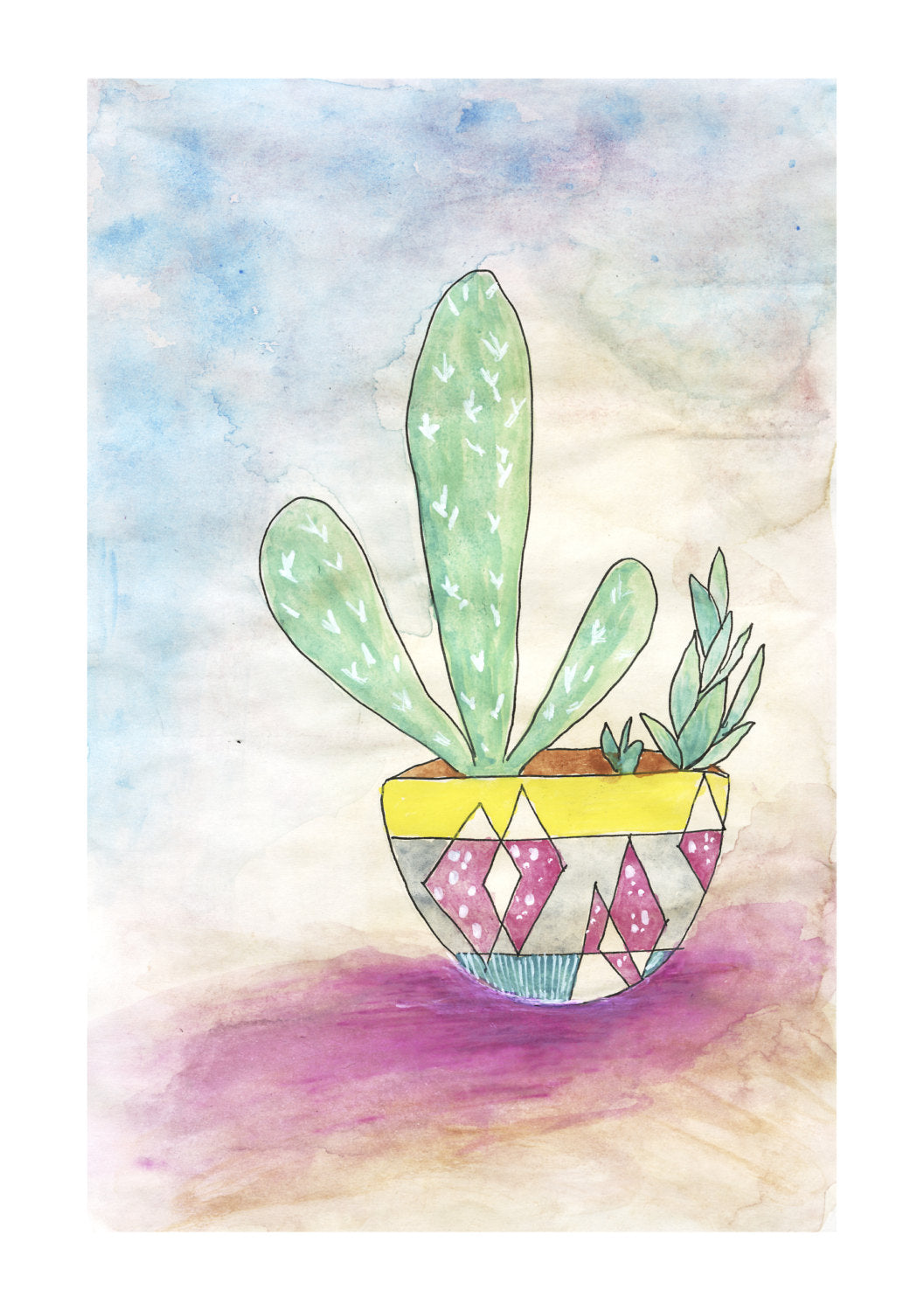 Cute Cactus No.1 wall art print by Minnie&Lou, made in Melbourne Australia