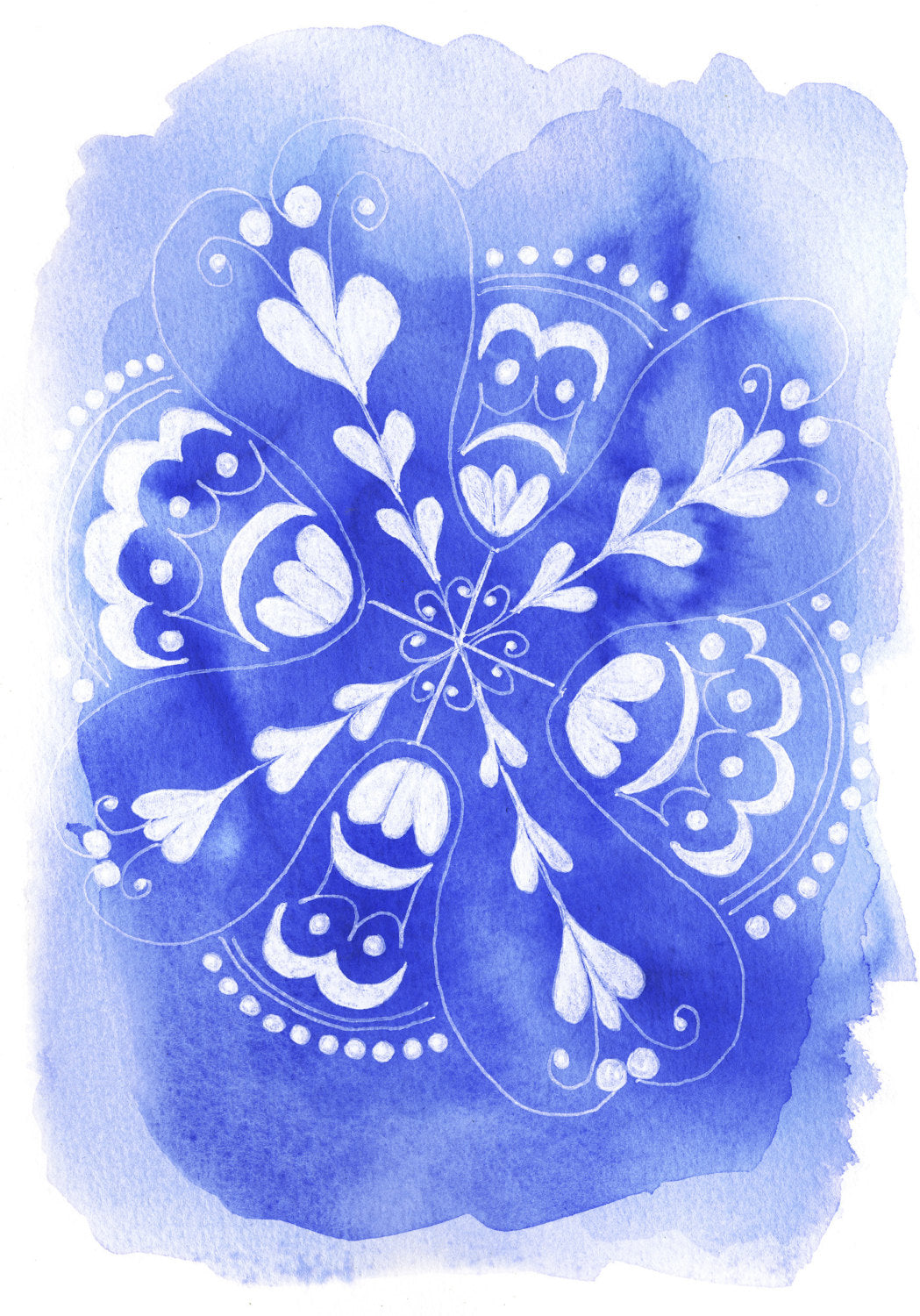 Blue and white art print, patterned plates. Minnie&Lou