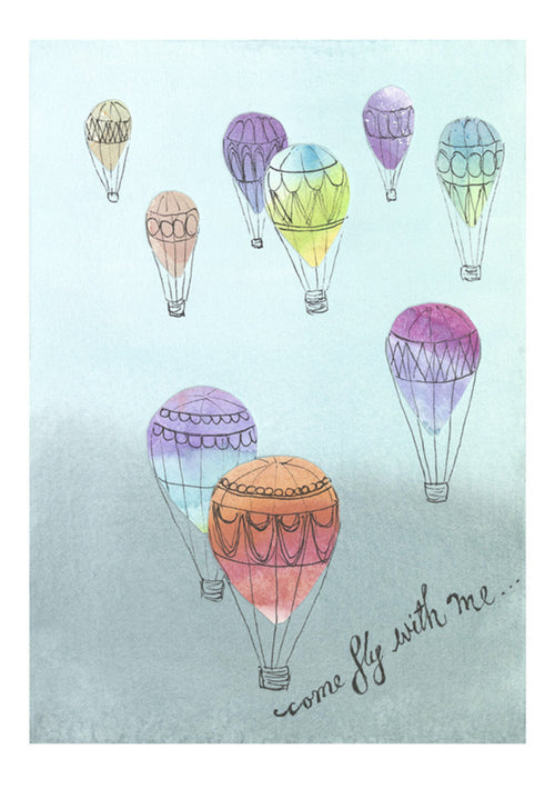 'Come Fly With Me' archival art print , wanderlust / travel bug art.