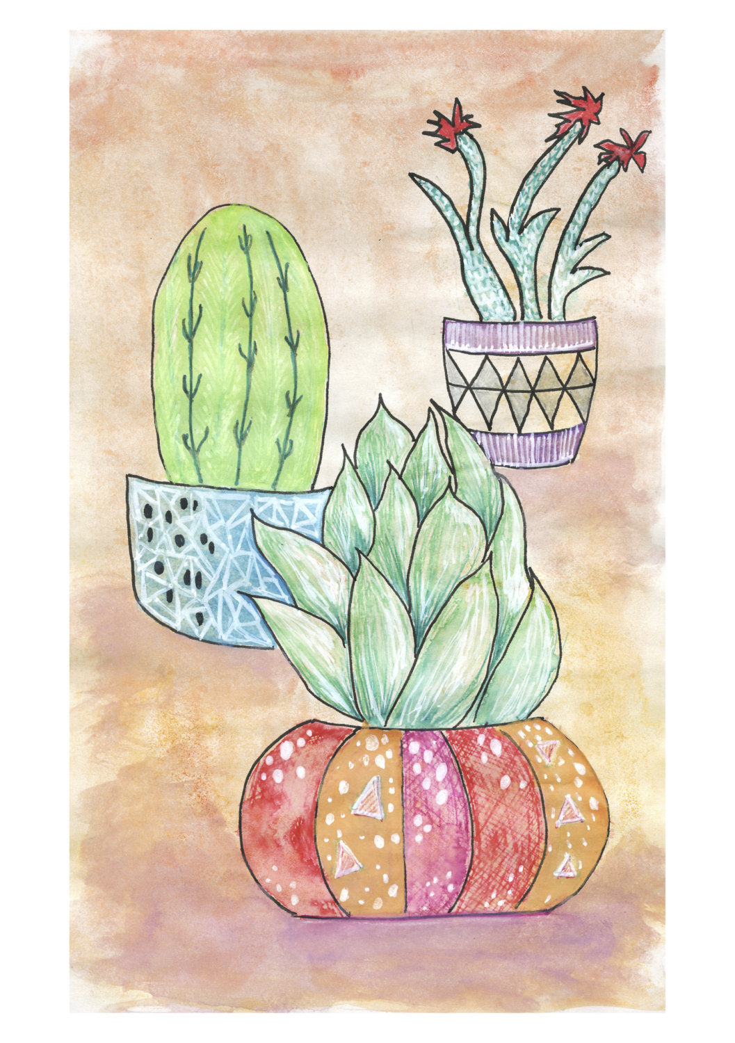 Cute Cactus No.2 archival wall art print by Melbourne art print brand Mniine&Lou
