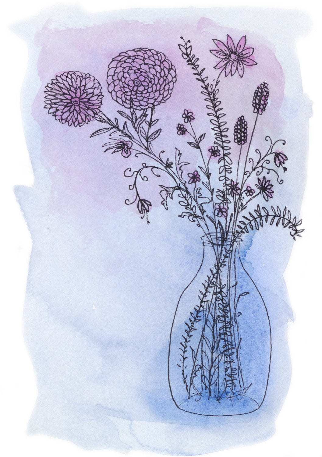 Blue Ink Floral Art print by Minnie&Lou