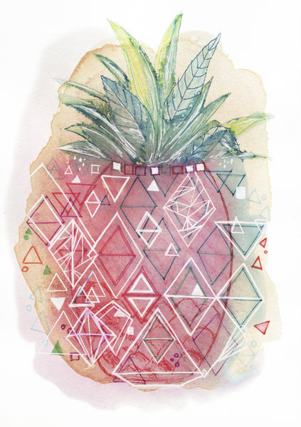 'Pineapple Pop' wall art print, lovely for teenage decor, nurseries, kitchen and living rooms.