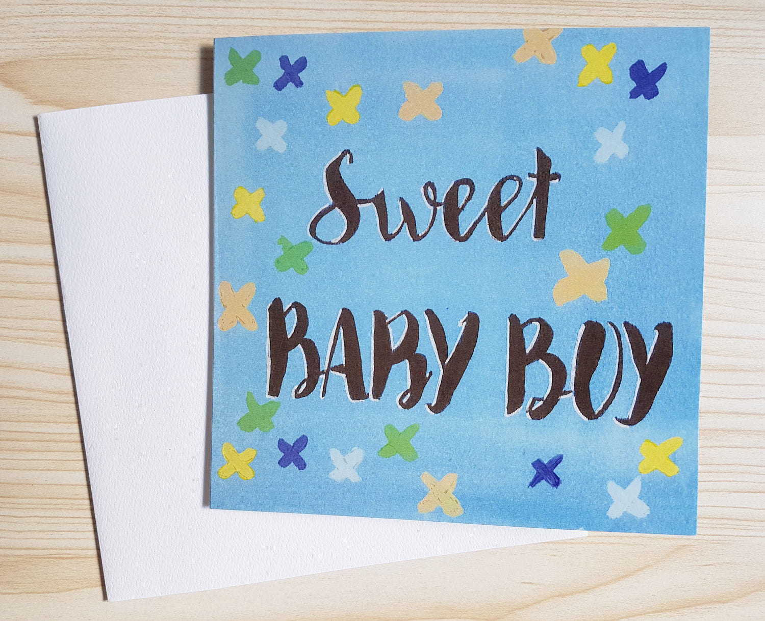 """Sweet Baby Boy"" new baby cards, Minnie&Lou eco friendly baby card collection."