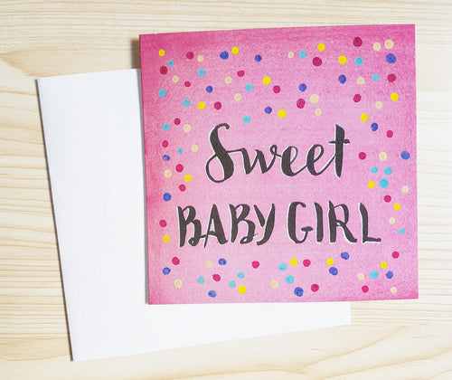 """Sweet Baby Girl"" new baby card, part of the Minnie&Lou card collection"
