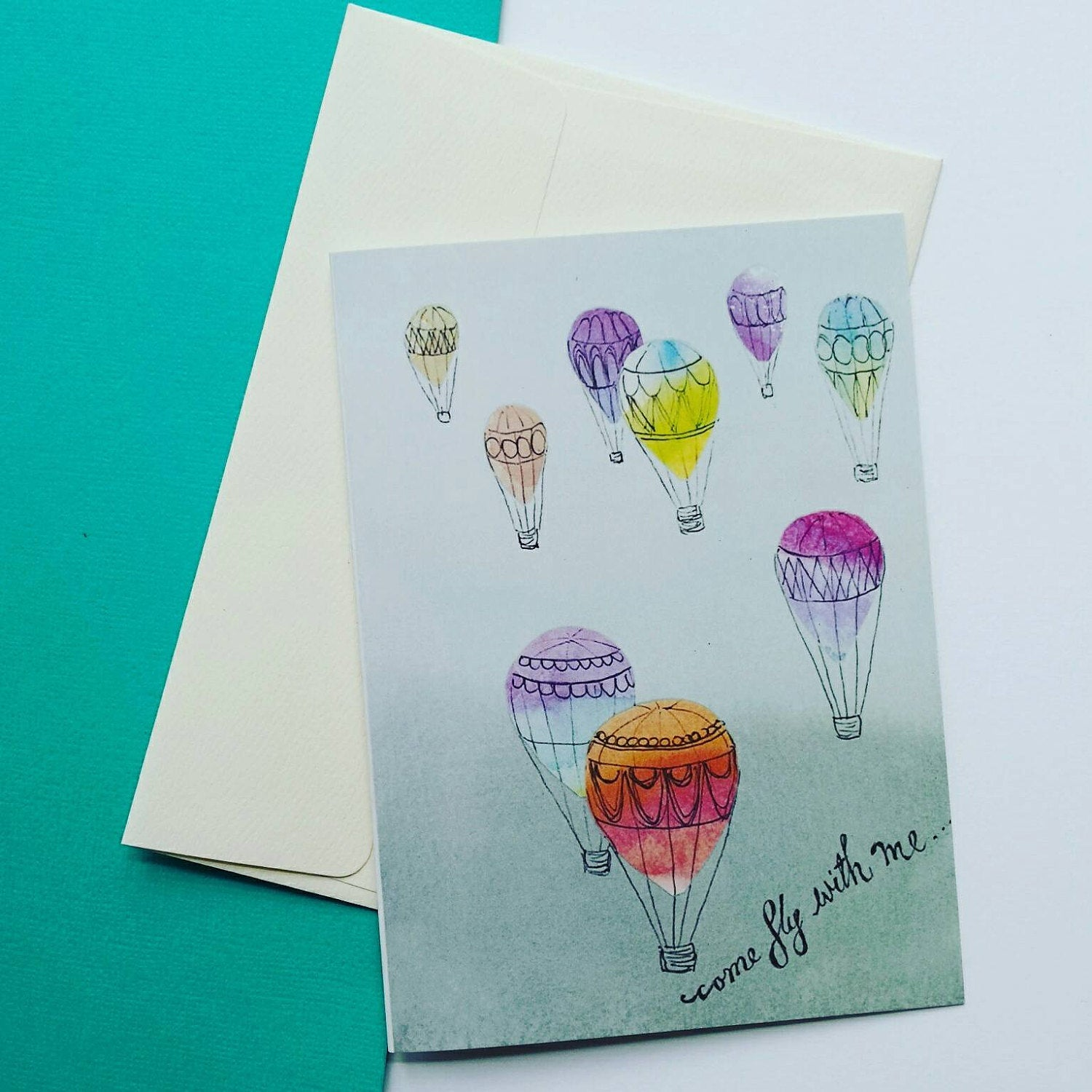 Hot Air Balloon Blank Greeting Card