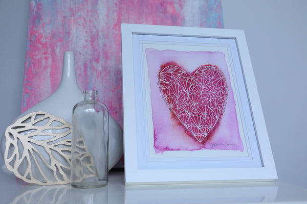 "Art for the guest room, love heart print with love quote ""awakens the soul"""