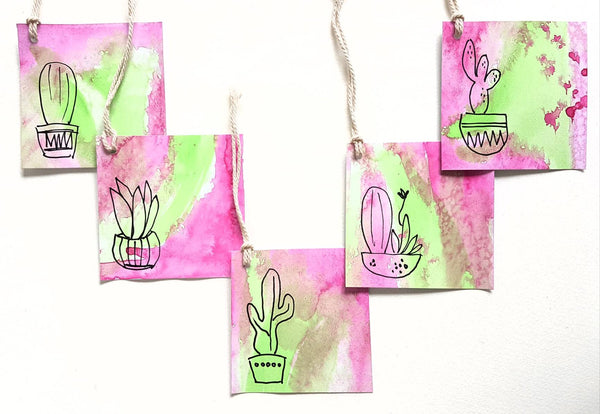 cute cactus hand painted gift tags by Minnie&Lou