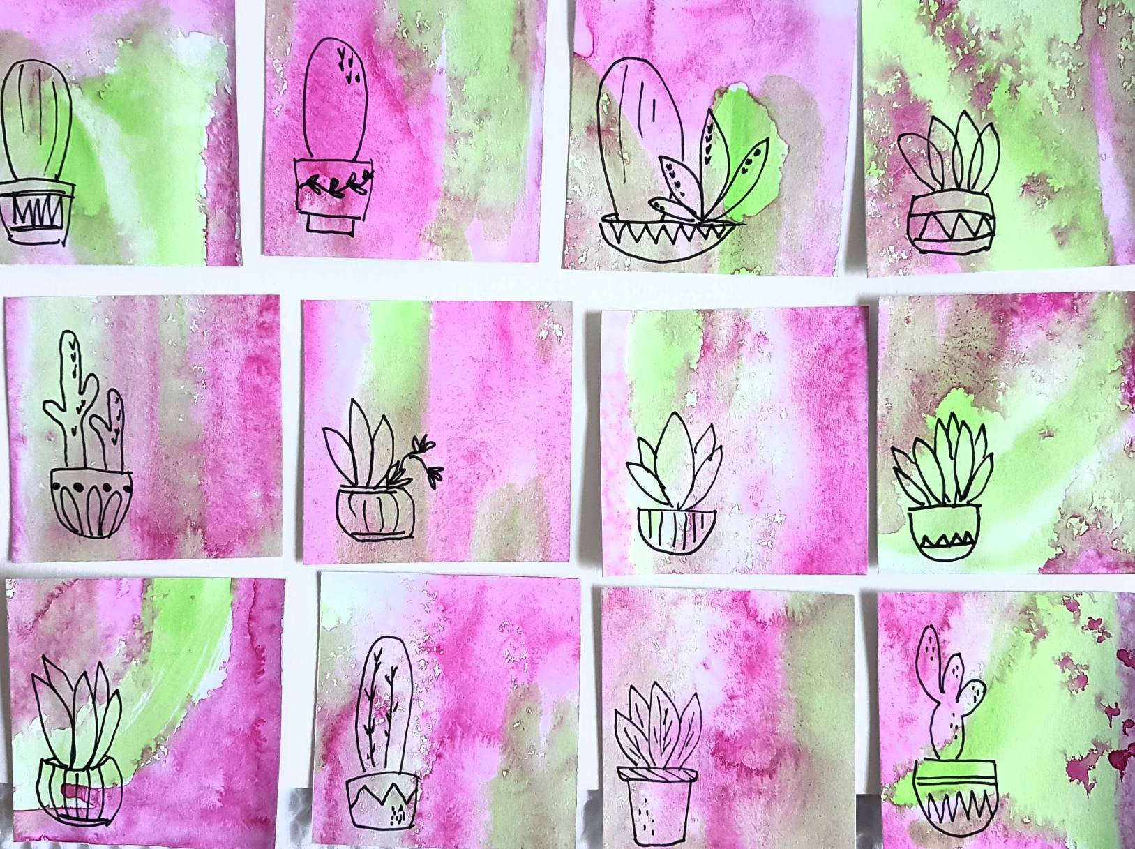 Hand crafted in Melbourne by Jacinta Payne, cute cactus illustration gift tags with watercolour background