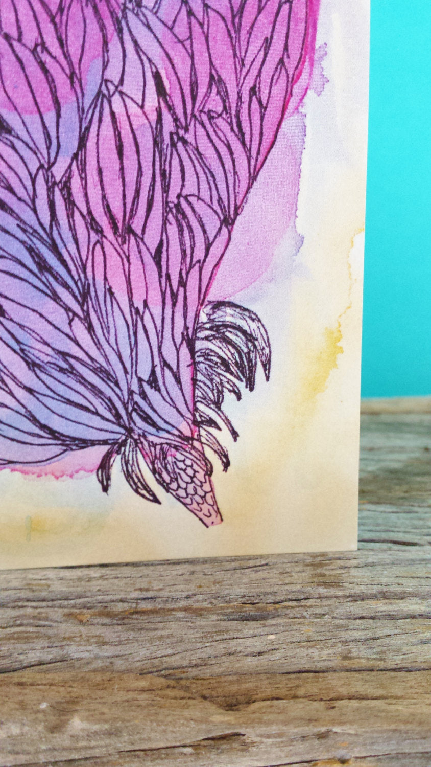 Detail of Fairy Floss Posy greeting card, printed on 100% recycled card stock, made in Melbourne Australia