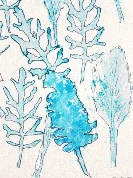 Leaf imprint abstract art print in aqua and blue tones by Jacinta Payne for Minnie&Lou