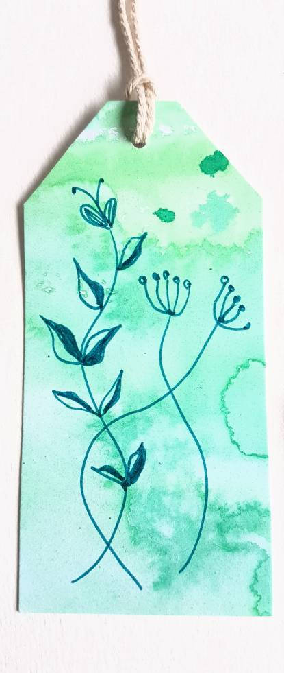 Hand made gift tags, hand painted and hand drawn botanic designs, green toned.