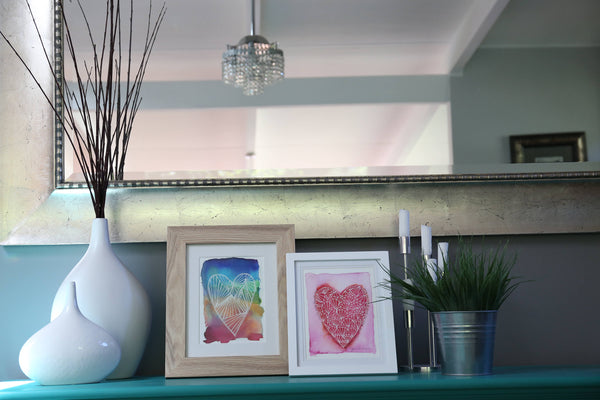 Dining Room styling, sideboard decoration, heart art prints by Minnie&Lou