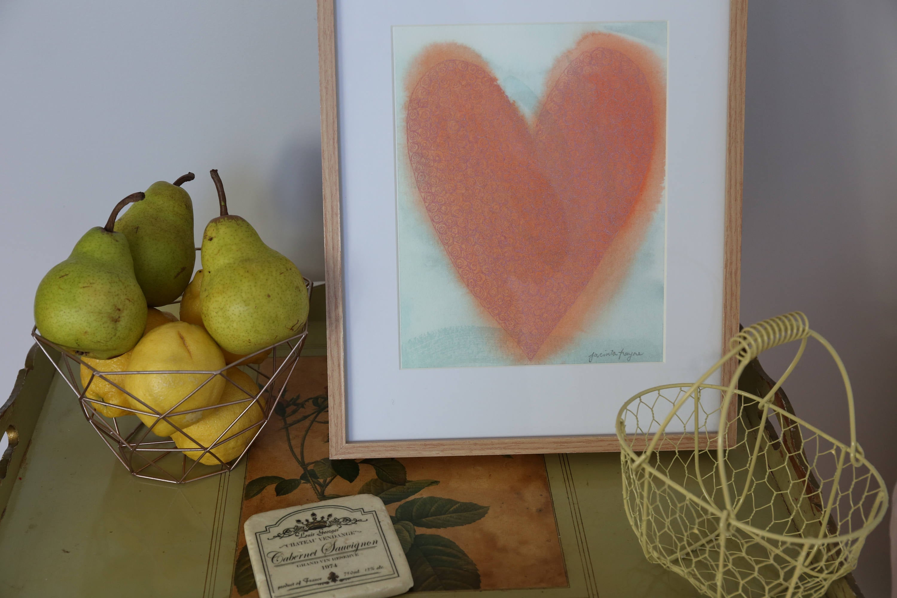 Shabby chic decor, peachy heart art print,
