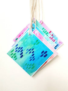 Colour pop Gift tags by Minnie&Lou, bright watercolour design
