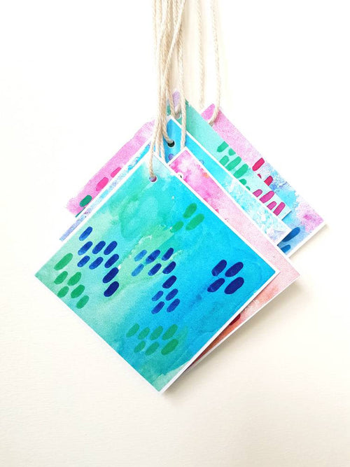 Gift tags by Minnie&Lou, bright watercolour design