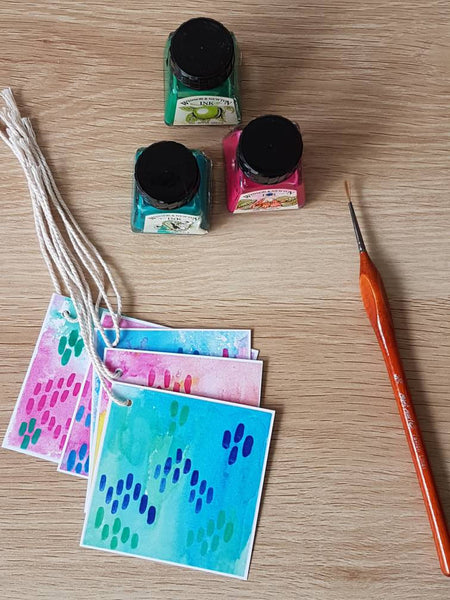 In the studio with Minnie&Lou, hand painted gift tag originals