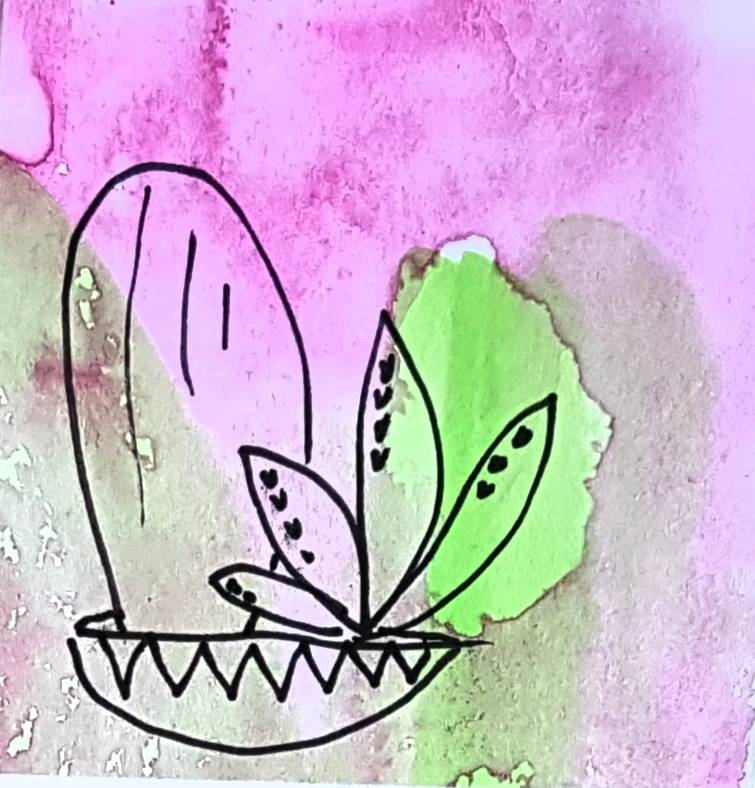 cactus gift tag, watercolor and ink, hand illustrated by Melbourne artist Jacinta Payne