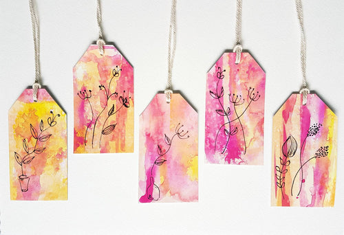 Gift tag set by Minnie&Lou. Modern Floral pink & yellow